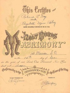 c.1911 Marriage Certificate Elizabeth Dozier Abbey Robert L. Foy_website