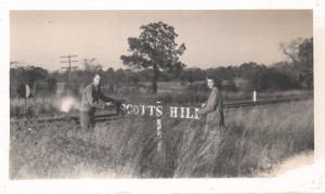 c.1945 Hugh Lee and Mary Frances Foy_Scotts Hill Railroad Sign